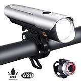 OUSPT Luces Bicicleta Delantera y Trasera, Linterna Bicicleta Recargable USB con 5 Modes IP65...