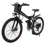 AMDirect Bicicleta de Montaña Eléctrica Bici Plegable Ebike con Rueda de 26 Pulgadas Batería...