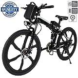 Hiriyt 26' Bicicleta eléctrica de montaña, 250W, Batería 36V E-Bike Sistema de Transmisión de 21 Velocidades con Linterna con Batería de Litio Desmontable con Tres Modos de Trabajo (26' Black_1)