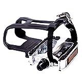 COZYROOMY Pedales de Bicicleta, Pedal híbrido con Jaula y cinturón, Adecuado Bicicleta estática Fitness, Bici...