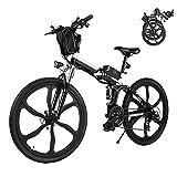 Bicicleta Eléctrica E-Bike Plegable, Bicicleta Eléctrica de 26' para Hombres de 250W con batería extraíble de...