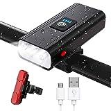 JINPXI Luz de Bicicleta LED, Luz de Bicicleta Recargable USB 6 Modos 2400 mAh Kit de Luces Delanteras y Luces...