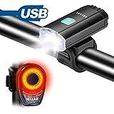 VELLAA Luz Trasera para Bicicleta Recargable USB, Potente LED COB Faro Trasero Bici Luces Traseras - Super...