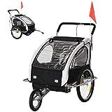 HOMCOM 2 en 1 Remolque de Bicicleta para Niños de 2 Plazas con Amortiguadores Convertible en Carro para Correr con...