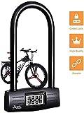 Candado en U Bicicleta,combinación de 4 dígitos, Bloqueo en U, reajustable, Bloqueo de Seguridad, Llave...