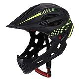 Casco de ciclismo para niños, desmontable, protección de barbilla completa, para bicicleta, con luz trasera y...