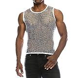 Chaleco Camiseta de Malla Hombre Lencería Erótica Fishnet Transparente sin Mangas Top Apretada Muscular Traje de...
