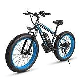 LUO 26 Pulgadas Fat Tire Bicicleta Eléctrica 1000 W 48 V Snow E-Bike Shimano 7 Velocidades Beach Cruiser Hombres...