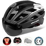 Casco bicicleta/Casco Bicic con luz,Certificado CE, casco bicicleta adulto con Visera Magnética Desmontable Gafas...