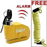 FD-MOTO - Dispositivos Antirrobo Candado de Disco con Alarma Antirrobo Acero 7mm 110DB Amarillo con Cable Enrollado...