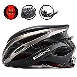 KING BIKE - Casco de ciclismo + mochila para casco portátil, visera desmontable, luz LED trasera de seguridad,...