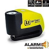 Urban Security UR6 Candado Antirrobo Disco con Alarma+Warning 120dBA, 6 mm, Made In EU, Multicolor, Única