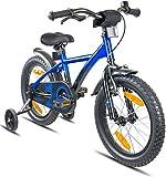 Prometheus Bicicleta Infantil | 16 Pulgadas | niño y niña | Azul Negro | A Partir de 5 años | con ruedines y...