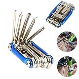 FULARR 11 en 1 Herramienta de Reparación de Bicicleta Multifunción, Mini Kit de Herramientas Plegables,...