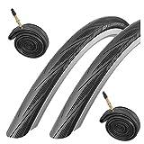 Schwalbe Lugano - Juego de 2 neumáticos 700c x 23 para Bicicletas de Carretera y cámaras Presta, Color Negro
