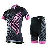 SKYSPER Ciclismo Maillot Mujeres Jersey + Pantalones Cortos Culote Mangas Cortas de Ciclismo Conjunto Ropa...