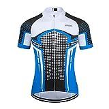 Maillot Ciclismo Hombre Verano Maillot MTB de Manga Corta Camiseta Bicicleta Transpirables (Blanco, Large)