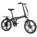 LETFF Bicicleta Plegable para Adultos de 20 Pulgadas de Velocidad Variable absorción de Choque Bicicleta de...