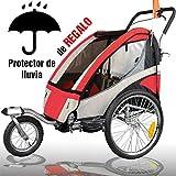 RBO Remolque de Bicicleta para niños Urban, biplaza, Plegado rapido, antivuelco, Incluye Kit Jogger, Carrito...