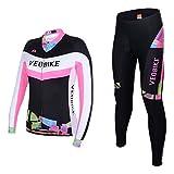 Asvert Malliots Ciclismo Mujer Largos Jersey + Pantalones + 3D cojín Transpirable y Cómodo Conjunto de Ciclista...