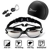 XQ7 Gafas de natación, incluir Enchufe de oído + Gorro de baño + Clip de Nariz, Protección UV y Recubrimiento...