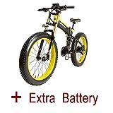 LANKELEISI 26 'Fat Tire Plegable Bicicleta Shimano 27 Velocidades Suspensión total Eléctrica 48 V 1000W Snow...