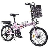 LETFF Bicicleta Plegable para Adultos de 20 Pulgadas de Velocidad de Estudiante para Hombre y Mujer, Rosa
