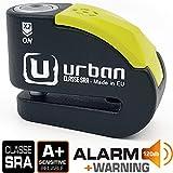 Urban Security UR10 candado antirrobo Disco con Alarma 120dba + Warning, Alta Seguridad Homologado CLASSE Sra, Eje...