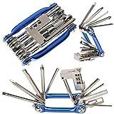 11 en 1 Herramienta de Reparación de Bicicleta Multifunción, Mini Kit de Herramientas Plegables, Herramienta de...