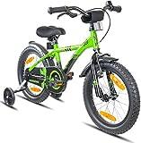 Bicicleta para niños de 16 pulgadas Prometheus, en color verde y negro, con ruedas de entrenamiento, freno lateral...