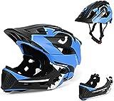 BMX Casco Infantil Integral para Ciclismo Enduro. Totalmente Ajustable con Mentoner Desmontable. Tamaño Ajustable...