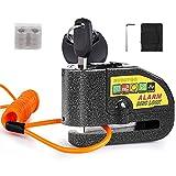 Candado Moto, BUDDYGO 110dB Alarma Antirrobo Impermeable Candado de Disco de Moto con 1.5m Cable Recordatorio y...