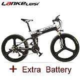 LANKELEISI 26 pulgadas plegable bicicleta eléctrica Motor 240w 48V 10Ah Batería de litio oculta Shimano 27...