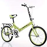 LETFF Bicicleta Plegable para Adultos 20 Pulgadas Bicicleta de Amortiguador de Velocidad del Estudiante de los...