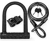 Candado en U para bicicleta, candado en D de grillete resistente con 3 llaves, cable de acero flexible de 1,2 m y...