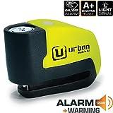 Urban Security UR6 Candado Antirrobo Disco con Alarma+Warning 120dB, 6 mm, Made In EU, Multicolor, Única