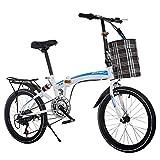 LETFF Bicicleta Plegable para Adultos de 20 Pulgadas para niños con Amortiguador de Velocidad Variable Bicicleta...