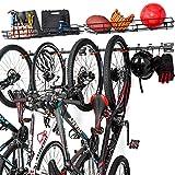 ikkle Soporte de Pared para Bicicletas, Soporte bicicletas pared con Cesta de Almacenamiento, Aparcamiento 6...